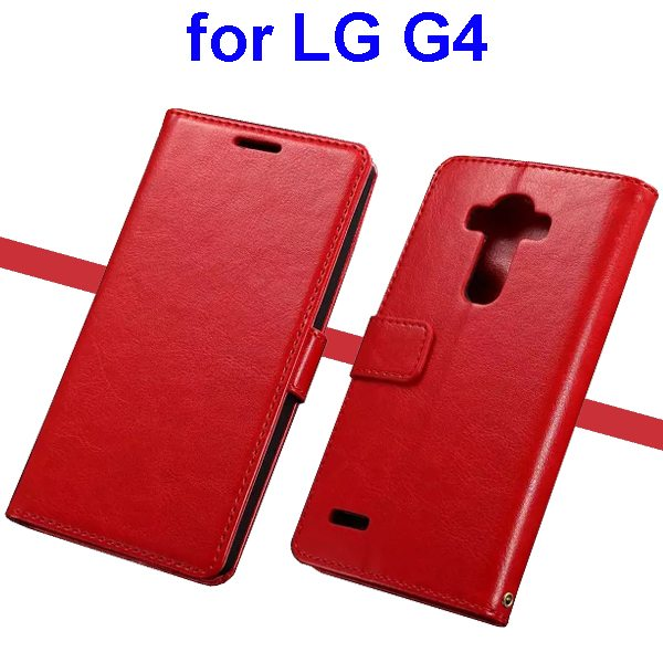 Oil Coated Wallet Style Flip Stand PU Leather Phone Case Cover for LG G4 (Red)