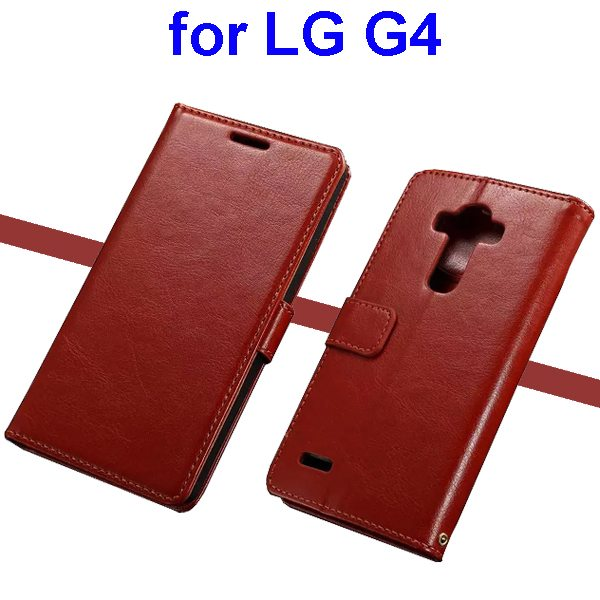 Oil Coated Wallet Style Flip Stand PU Leather Phone Case Cover for LG G4 (Dark Brown)