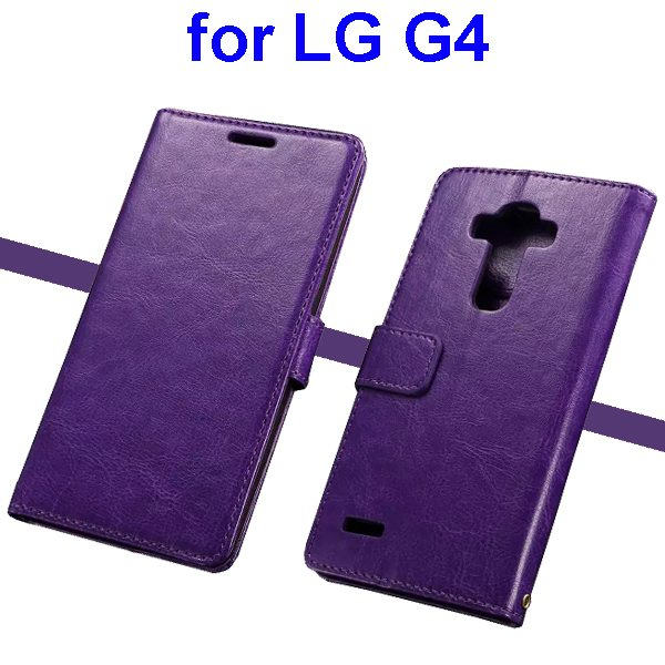Oil Coated Wallet Style Flip Stand PU Leather Phone Case Cover for LG G4 (Purple)