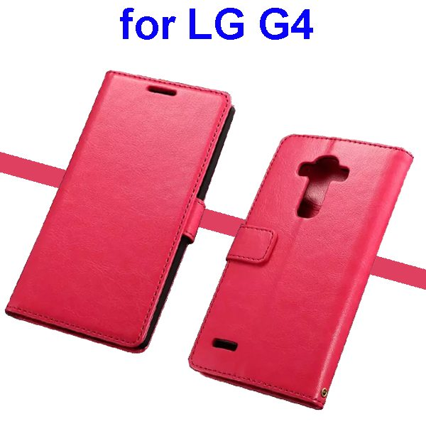 Oil Coated Wallet Style Flip Stand PU Leather Phone Case Cover for LG G4 (Rose)