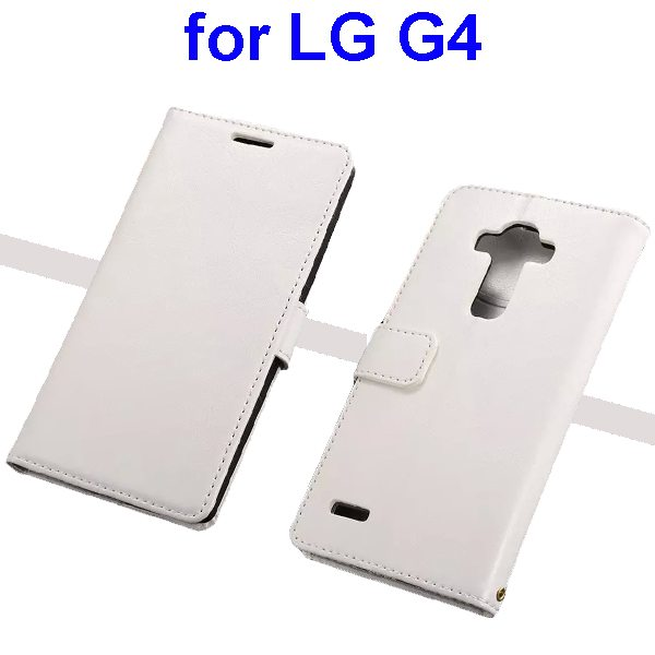 Oil Coated Wallet Style Flip Stand PU Leather Phone Case Cover for LG G4 (White)