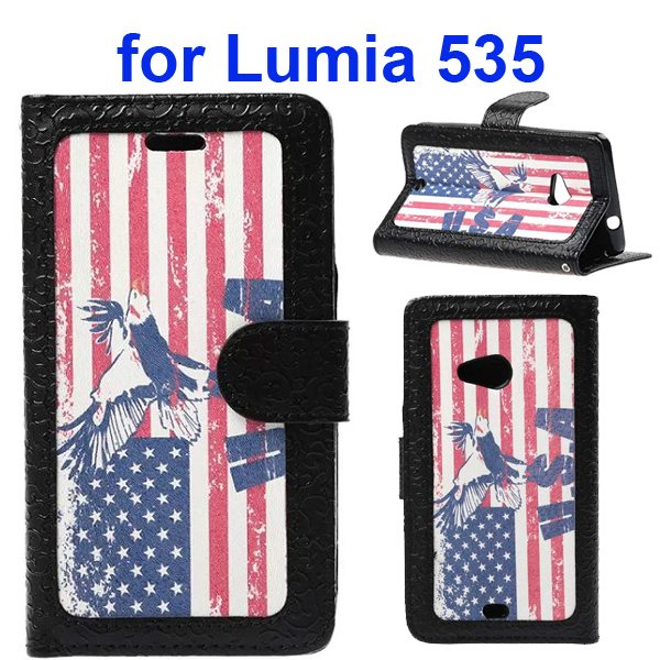 Embossed Style Flip Wallet PU Leather Case for Nokia Lumia 535 (USA Flag)