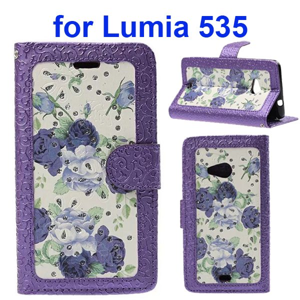 Embossed Style Flip Wallet PU Leather Case for Nokia Lumia 535 (Purple Roses)