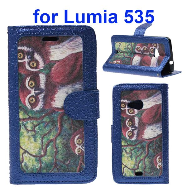 Embossed Style Flip Wallet PU Leather Case for Nokia Lumia 535 (Owls)