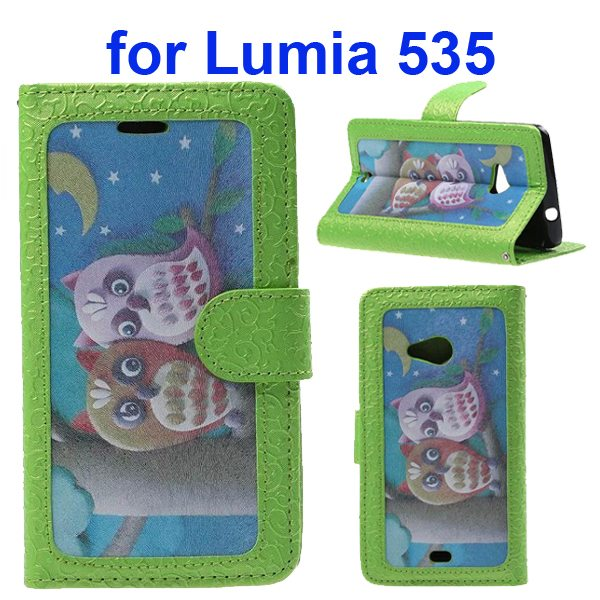 Embossed Style Flip Wallet PU Leather Case for Nokia Lumia 535 (Loving Owls)