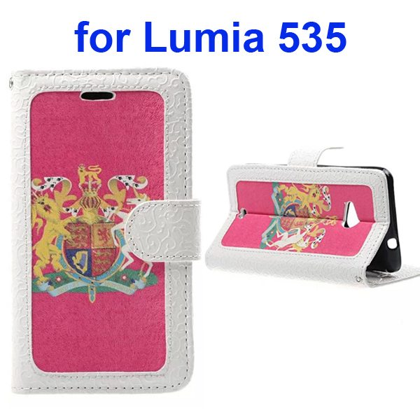 Embossed Style Flip Wallet PU Leather Case for Nokia Lumia 535 (The British National Emblem Pattern)