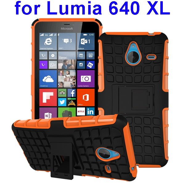 2 in 1 Silicone and Hard Shockproof Hybrid Case for Lumia 640 XL with Holder (Brown)