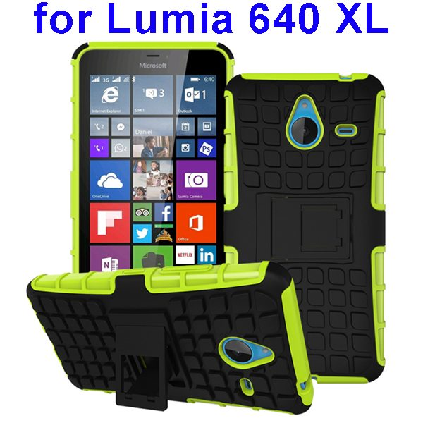 2 in 1 Silicone and Hard Shockproof Hybrid Case for Lumia 640 XL with Holder (Green)