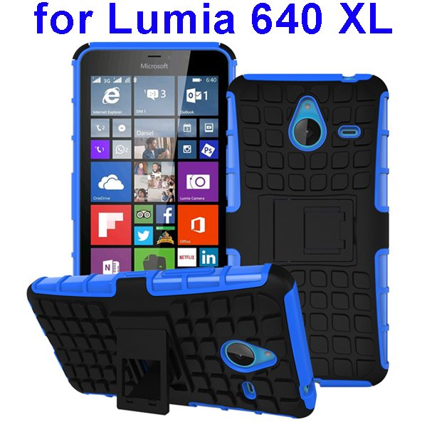 2 in 1 Silicone and Hard Shockproof Hybrid Case for Lumia 640 XL with Holder (Blue)