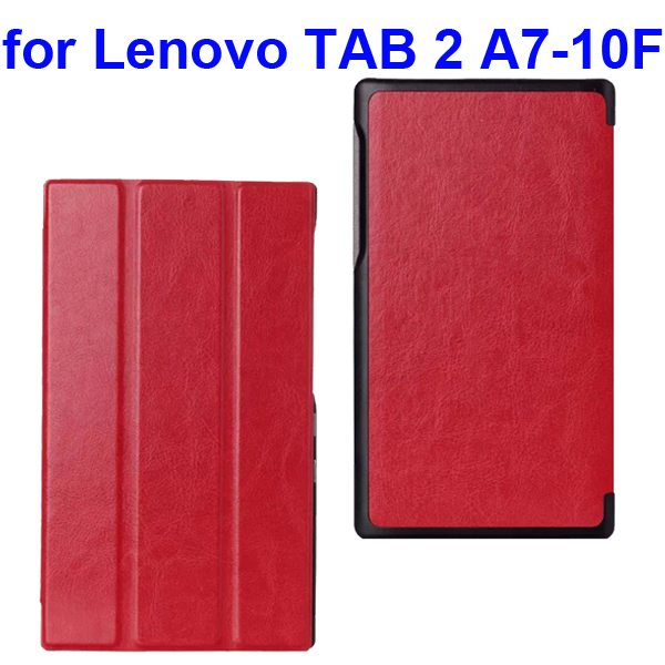 Crazy Horse Texture Three Folio Flip Cover for Lenovo TAB 2 A7-10F with Stand (Red)