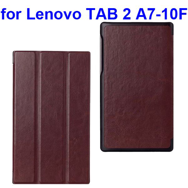 Crazy Horse Texture Three Folio Flip Cover for Lenovo TAB 2 A7-10F with Stand (Brown)