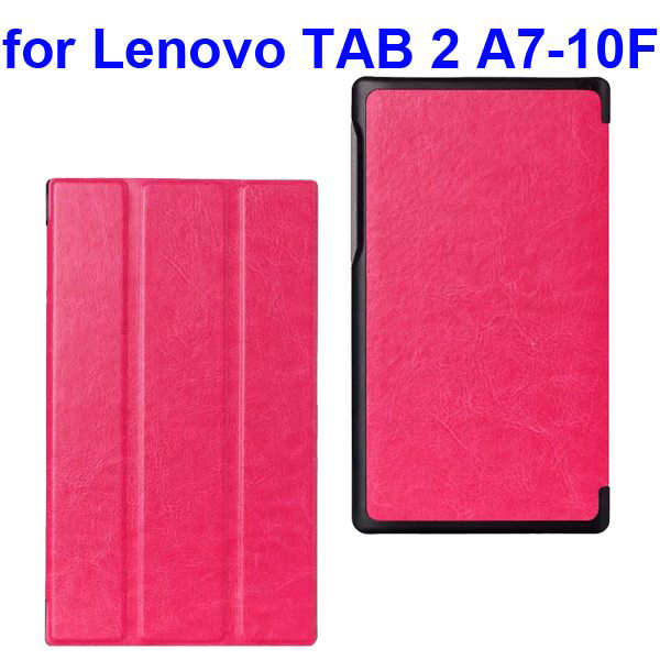 Crazy Horse Texture Three Folio Flip Cover for Lenovo TAB 2 A7-10F with Stand (Rose)