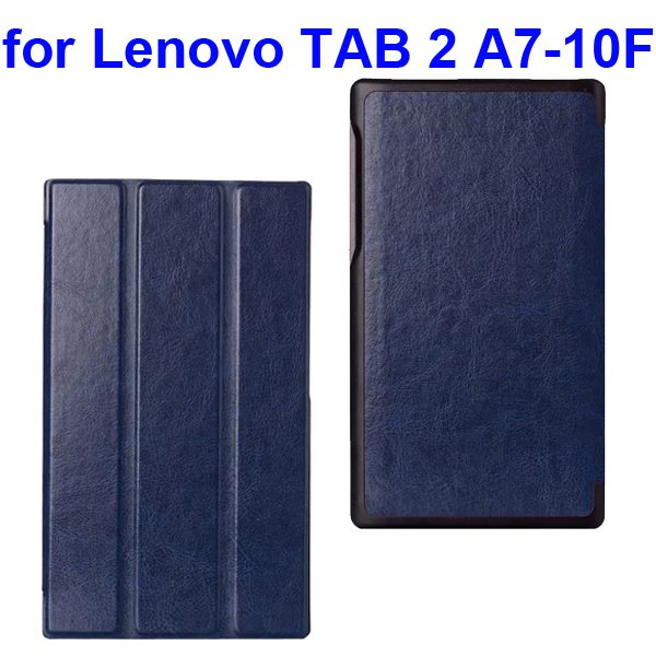 Crazy Horse Texture Three Folio Flip Cover for Lenovo TAB 2 A7-10F with Stand (Dark Blue)