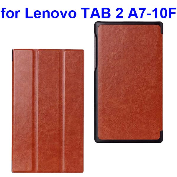 Crazy Horse Texture Three Folio Flip Cover for Lenovo TAB 2 A7-10F with Stand (Orange)