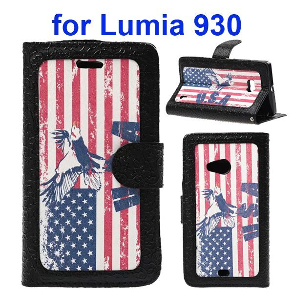 Unique Design Embossed Style Wallet Style PU Leather Flip Case Cover for Nokia Lumia 930 (USA Flag Pattern)