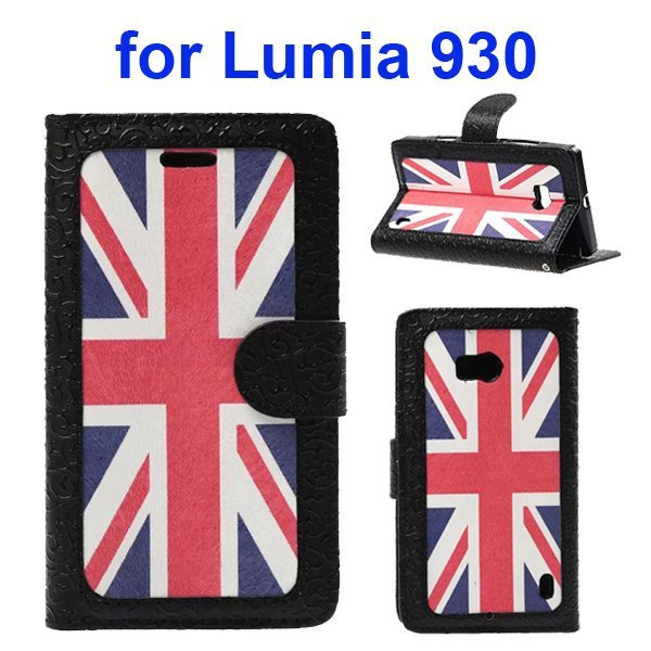 Unique Design Embossed Style Wallet Style PU Leather Flip Case Cover for Nokia Lumia 930 (UK Flag Pattern)