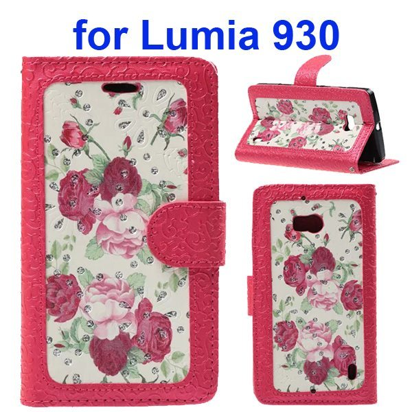 Unique Design Embossed Style Wallet Style PU Leather Flip Case Cover for Nokia Lumia 930 (Red Flowers Pattern)