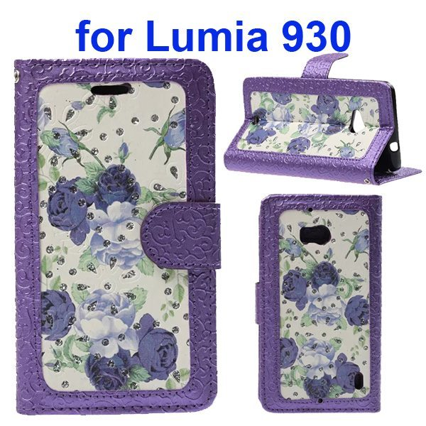 Unique Design Embossed Style Wallet Style PU Leather Flip Case Cover for Nokia Lumia 930 (Purple Flowers Pattern)
