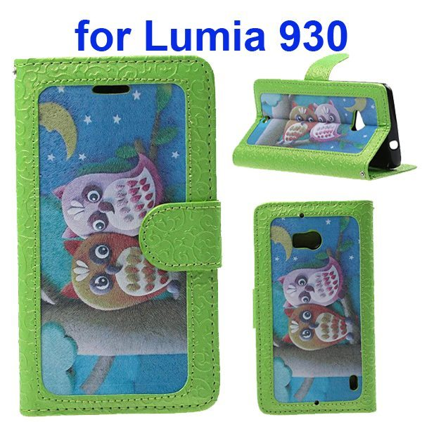 Unique Design Embossed Style Wallet Style PU Leather Flip Case Cover for Nokia Lumia 930 (Baby Owl Pattern)