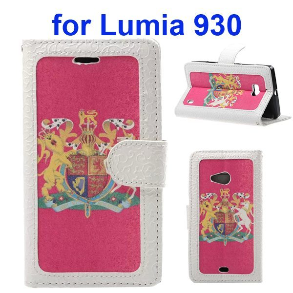 Unique Design Embossed Style Wallet Style PU Leather Flip Case Cover for Nokia Lumia 930 (The British National Emblem Pattern)