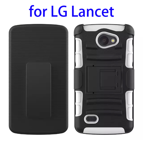 3 In 1 Pattern PC and Silicone Rugged Kickstand Hybrid Case for LG Lancet (White)