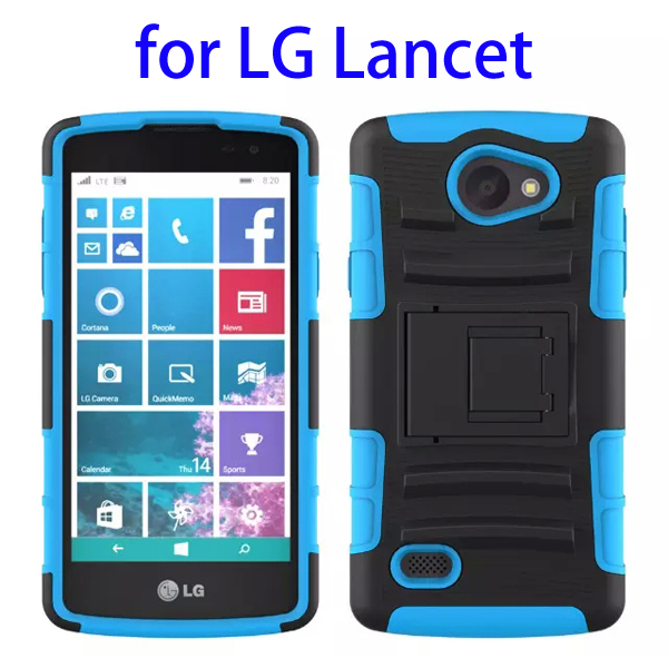 3 In 1 Pattern PC and Silicone Rugged Kickstand Hybrid Case for LG Lancet (Blue)