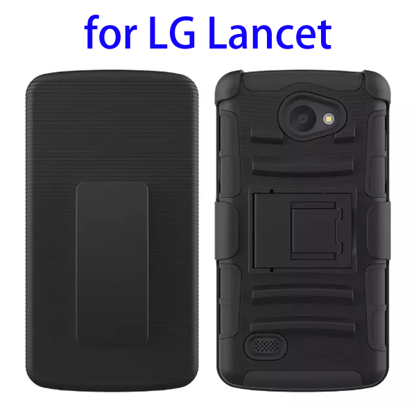 3 In 1 Pattern PC and Silicone Rugged Kickstand Hybrid Case for LG Lancet (Black)