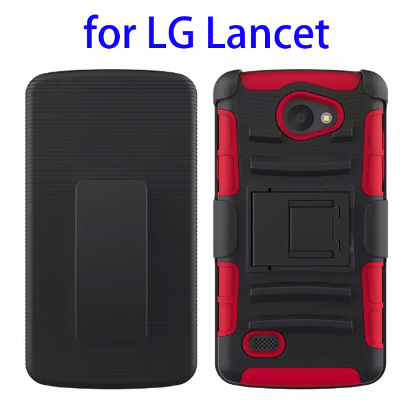 3 In 1 Pattern PC and Silicone Rugged Kickstand Hybrid Case for LG Lancet (Red)