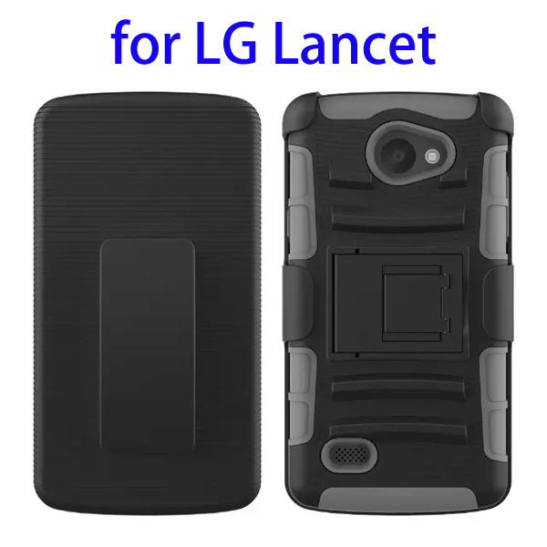 3 In 1 Pattern PC and Silicone Rugged Kickstand Hybrid Case for LG Lancet (Gray)
