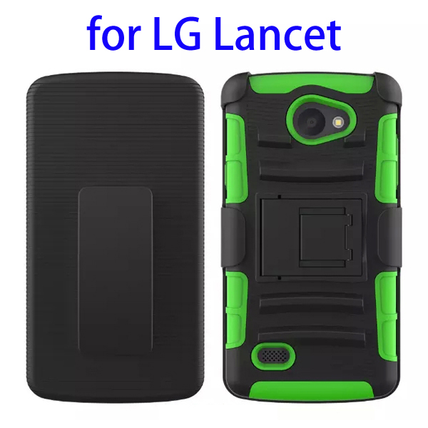 3 In 1 Pattern PC and Silicone Rugged Kickstand Hybrid Case for LG Lancet (Green)