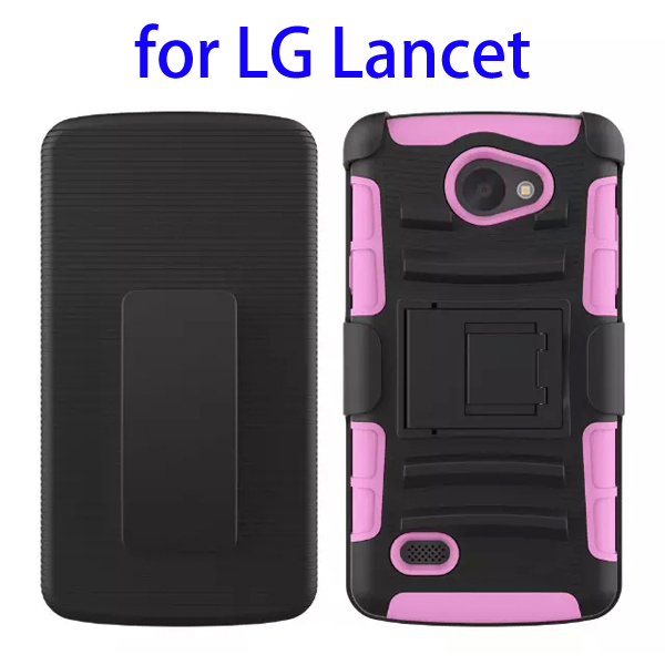 3 In 1 Pattern PC and Silicone Rugged Kickstand Hybrid Case for LG Lancet (Pink)