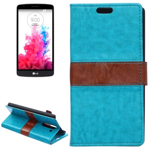 Nice Color Matching Wallet Pattern Leather Case Cover for LG G3 Stylus with Holder and Card Slots (Blue)