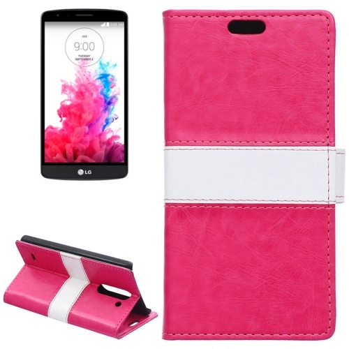Nice Color Matching Wallet Pattern Leather Case Cover for LG G3 Stylus with Holder and Card Slots (Rose)