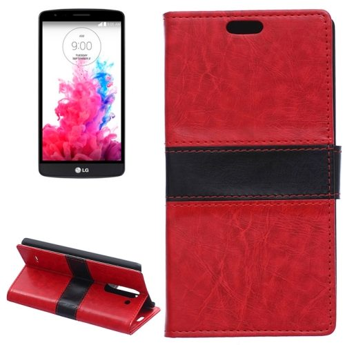 Nice Color Matching Wallet Pattern Leather Case Cover for LG G3 Stylus with Holder and Card Slots (Red)