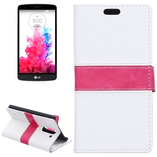 Nice Color Matching Wallet Pattern Leather Case Cover for LG G3 Stylus with Holder and Card Slots (White)