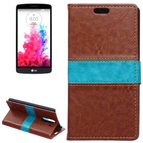 Nice Color Matching Wallet Pattern Leather Case Cover for LG G3 Stylus with Holder and Card Slots (Brown)