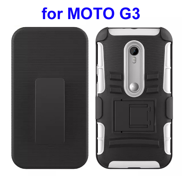 3 In 1 Pattern PC and Silicone Rugged Kickstand Hybrid Case for Motorola Moto G3 (White)