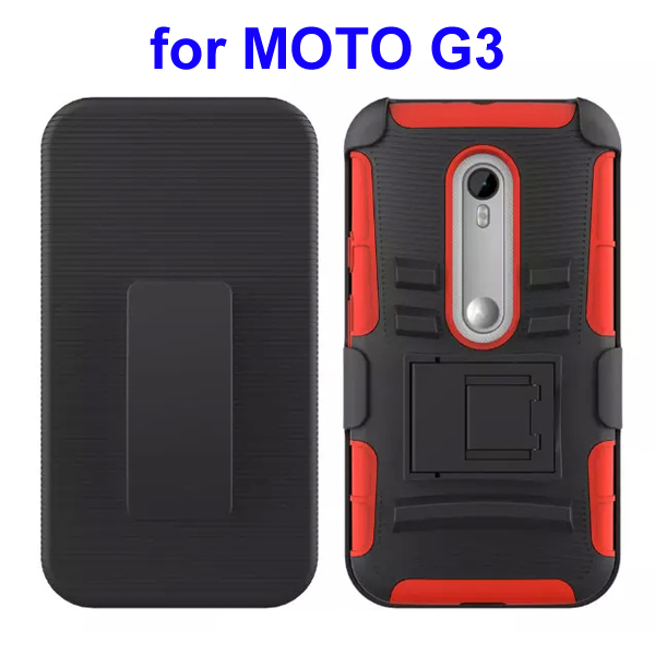 3 In 1 Pattern PC and Silicone Rugged Kickstand Hybrid Case for Motorola Moto G3 (Bright Red)