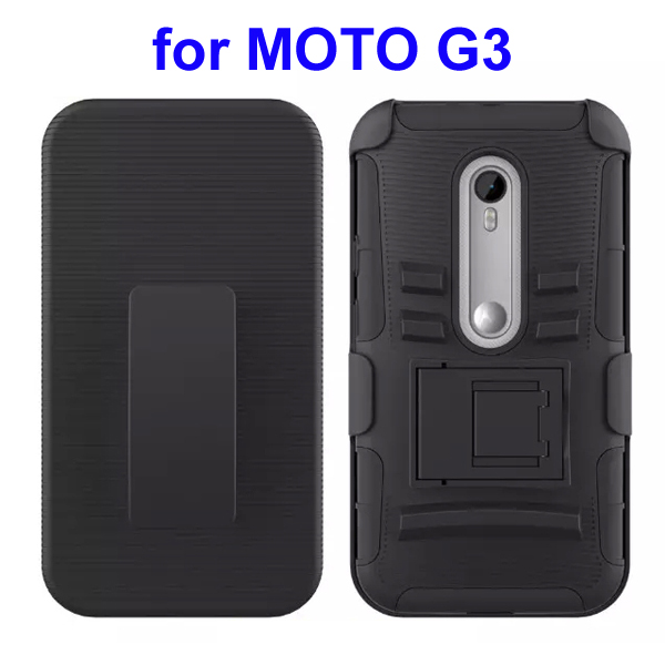 3 In 1 Pattern PC and Silicone Rugged Kickstand Hybrid Case for Motorola Moto G3 (Black)