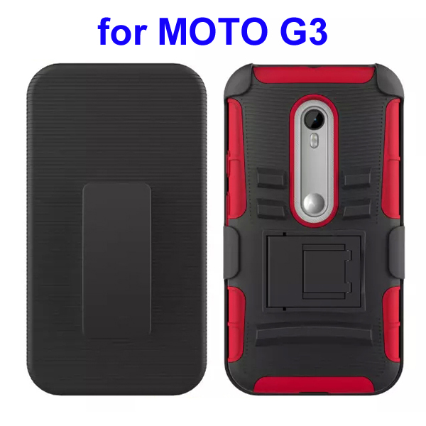 3 In 1 Pattern PC and Silicone Rugged Kickstand Hybrid Case for Motorola Moto G3 (Red)