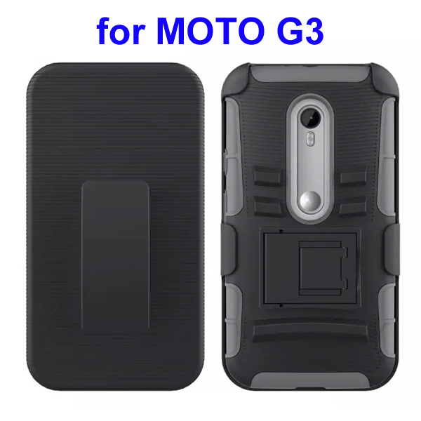 3 In 1 Pattern PC and Silicone Rugged Kickstand Hybrid Case for Motorola Moto G3 (Gray)