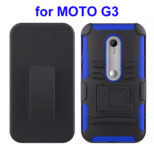3 In 1 Pattern PC and Silicone Rugged Kickstand Hybrid Case for Motorola Moto G3 (Blue)