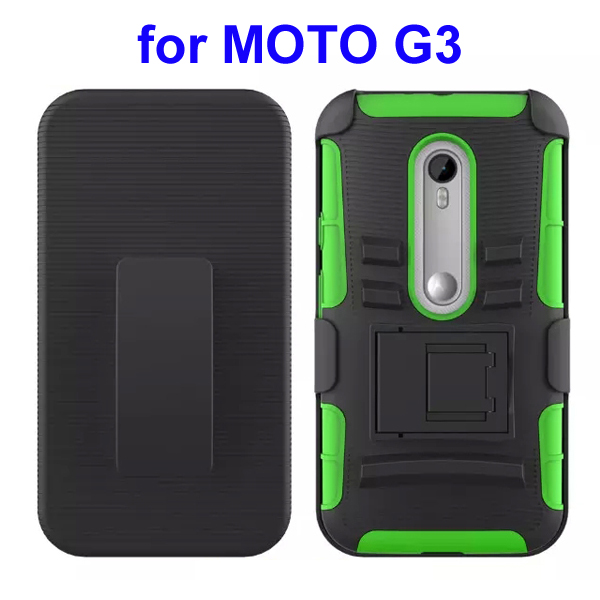 3 In 1 Pattern PC and Silicone Rugged Kickstand Hybrid Case for Motorola Moto G3 (Green)