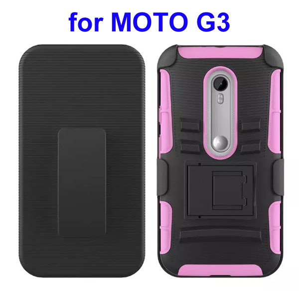 3 In 1 Pattern PC and Silicone Rugged Kickstand Hybrid Case for Motorola Moto G3 (Pink)