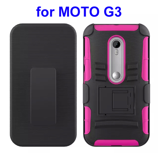 3 In 1 Pattern PC and Silicone Rugged Kickstand Hybrid Case for Motorola Moto G3 (Rose)
