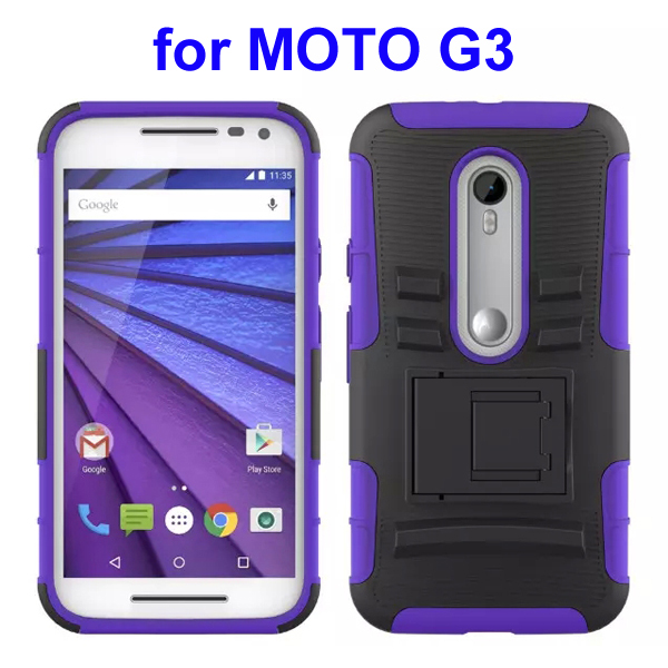 3 In 1 Pattern PC and Silicone Rugged Kickstand Hybrid Case for Motorola Moto G3 (Purple)