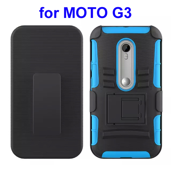 3 In 1 Pattern PC and Silicone Rugged Kickstand Hybrid Case for Motorola Moto G3 (Baby Blue)