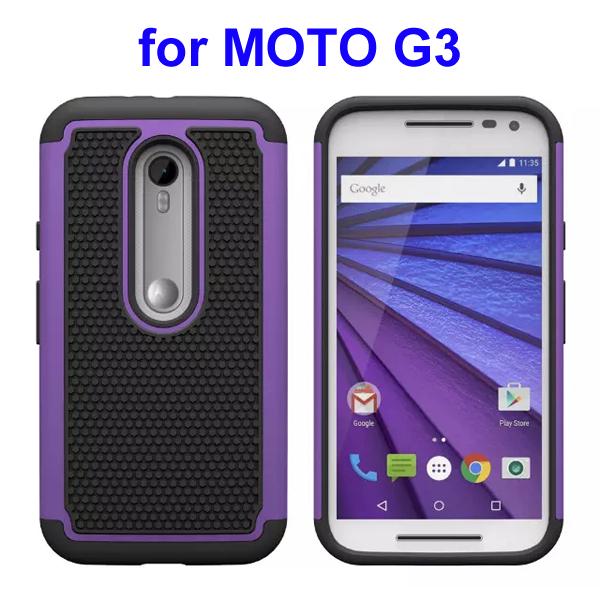 Football Pattern PC + Silicone + TPU Hybrid Protective Rugged Case for Motorola Moto G3 (Purple)