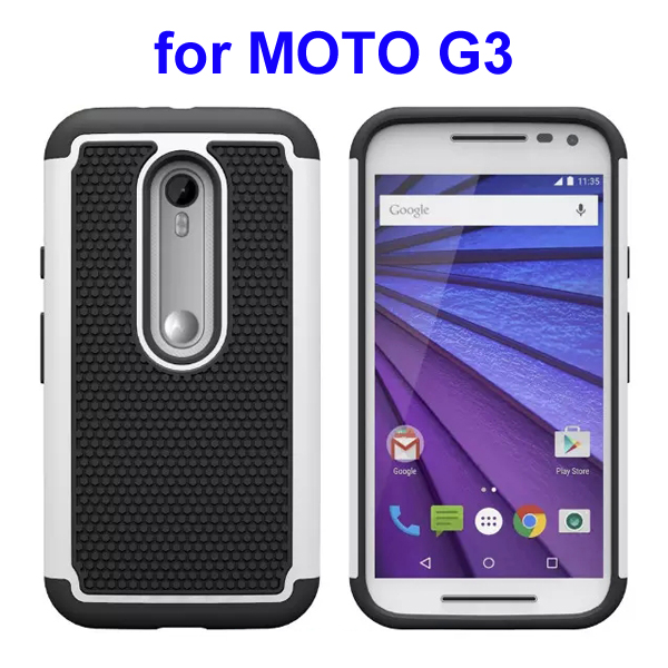 Football Pattern PC + Silicone + TPU Hybrid Protective Rugged Case for Motorola Moto G3 (White)