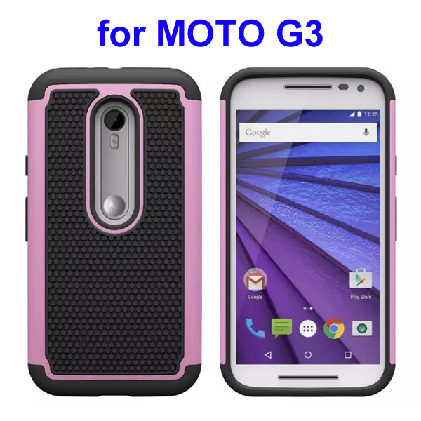 Football Pattern PC + Silicone + TPU Hybrid Protective Rugged Case for Motorola Moto G3 (Pink)